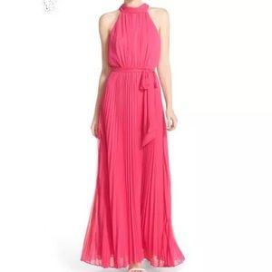 Eliza J Pink Pleated Halter Maxi Dress 10